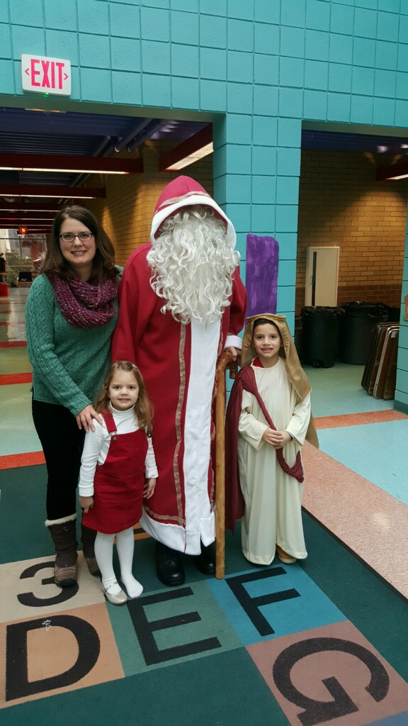 St Nicholas with Maria Cochran, And children Jack Martin and Meagan.